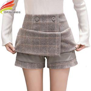 Winter Wool Plaid Skirt Women 2018 New Women Short Skirts Fashion 2018 Gray Black High Waist A Line Skirt Ladies Jupe Femme