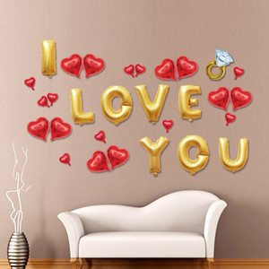 İngilizce Numarası Balonlar Set Düğün Malzemeleri ben Aşk Mektupları Alüminyum Filmi Balon Süsleme Için Sevgililer 6 5ys Ww