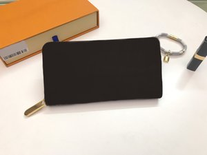 Brand New portefeuille de haute qualité à glissière femmes véritable cuir portefeuille zippy mens argent de poche portefeuilles carte porte-monnaie avec la boîte 60015