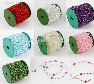 Al por mayor-60M 1 Rollo de 8 mm perlas de bolas Garland boda de la cadena Decoración Vela Centro de artesanía bricolaje favor