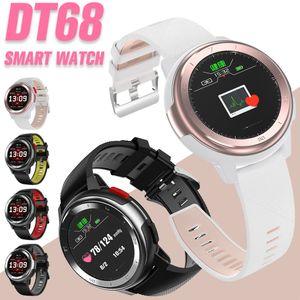 DT68 relógio inteligente IP68 Waterproof 1,2 polegadas completa Touch Screen Esporte Pulseira de Fitness Rastreador mensagem de envio Bluetooth Smartwatch