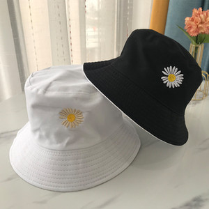 Sommer-Wannen-Hut Frauen Männer Cotton Fashion Boy Cap Mädchen Double-Sided Bob Sun Femme Blumenhut