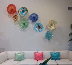 Moderne Tiffany Farbiges Glas hängende Platten-Wand-Kunst-Ausgangsdekoration Indien European Style Murano Blumen-Glasplatten-Wand-Kunst