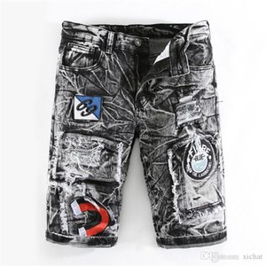 Mens Designer Stretch Denim Shorts 2019 Summer Badge Bleached Retro Big Size Ripped Patchwork Jeans shorts Trousers 317