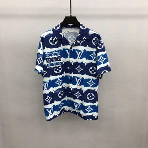 2020ss spring and summer new high grade cotton printing short sleeve round neck panel T-Shirt xshfbcl Size: m-l-xl-xxl-xxxl Color: blue