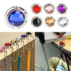 Crystal Acrylicl DIY Foldable Glossy Handbag Bag Purse Hanger Desk Sticker Folding Hook Holder 13 Colors