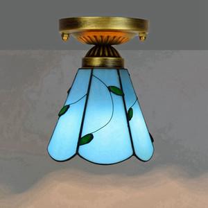 저렴한 티파니 스타일의 스테인드 글라스 천장은 8 인치 복고풍 붉은 장미 유리 천장 조명 거실 천장 램프 조명