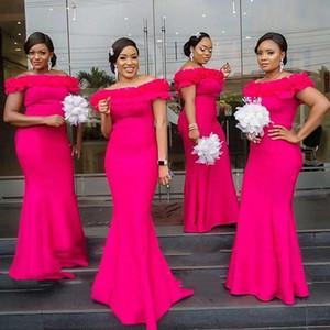 Fuchsia Mermaid Bridesmaid Dresses 2021 Long Ruffles Off Shoulder Robe Demoiselle D'honneur Guest Dress For Women Cheap Wedding Party Gowns