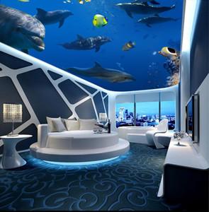 Photo Wallpaper Salon Chambre KTV Plafond Muraux Papier peint Ocean World Dolphin plafond