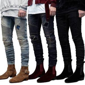 Hip Hop Mens Designer Jeans Fashion Casual Ripped задрапированные Дизайнерские Дырки Карандаш Жан Брюки мужская Одежда