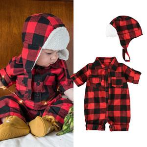 Детская одежда девочек мальчиков Xmas плед ползунки Рождество младенца решетчатые Комбинезоны с весны шлема осени младенца взбираясь одежды C1761