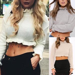 Frauen sexy solide farbe kräuselte hohe hals langarm strickte geschnittene pullover kurze stil slim nylon / polyester / spandex frauen