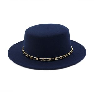 Новые женщины Шерсть канотье Flat Top Hat Wide Брим Войлок Fedora Hat с цепочкой Ladies Фельтро Bowler Gambler Циндилиндером
