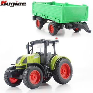Diecast Toy Vehicle Farmer Tractor Simulation 1:16 Pull Back With LightsMusic Transport Truck Model Подарочные Игрушки Для Детей Y200317