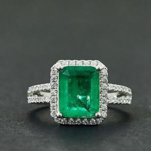 Männer und Frauen Mode vermessingt Platinring Quadrat Smaragd Ring Hochzeit Engagement Schmuck paar Geschenk-Box