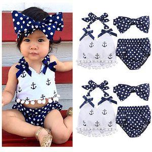 Die Kleidung der netten Mädchenkinder des neuen Babys kleidet ärmelloses Hemd des Ankers + Tupfenunterwäscheart und weiseklage Sunsuit 0-24M