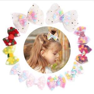 Niñas Bebé Barrette Horquillas Unicornio Lollipop Barrettes Pinza de pelo Arco niños Accesorios para el cabello de malla de bolas coloridas sombreros KKA6843