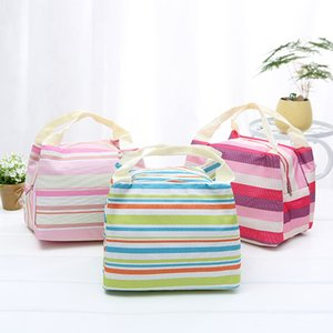 Zipper Lunch Tote Thermal Insulated Portable Picnic Lunch Bag Canvas Striped Bento Bags Free Shipping WB2073