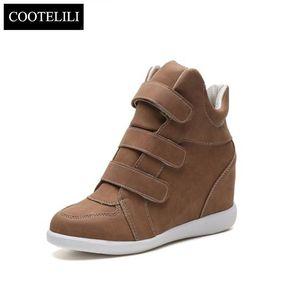 COOTELILI 플랫 하이힐 웨지 가죽 여성 패션 스니커즈 브랜드 캐주얼 신발 여성 블랙 겨울 앵클 부츠