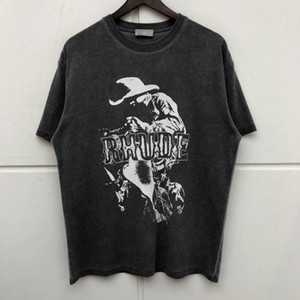 Estate Stile Rhude Tees Faded manica corta T-shirt Uomo Donna HipHop lavato oversize T Shirt Mens