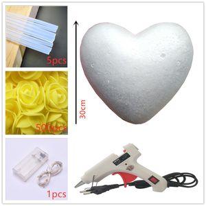 Romantic Rose Artificial Marriage Proposal presentes Decoração DIY 30 centímetros Coração de Rosa Flores dos Namorados