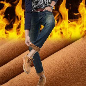 autumen winter men fashion velvet thick Calm jeans men casual straight hands jeans