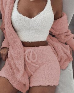 2020 Women Two Piece Set Outfits Autumn Winter Fluffy Hooded Open Front Teddy Coat & Short Sets