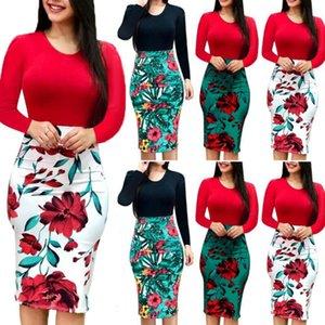 Inoltre Maxi Abbigliamento Party Dress Bodycon delle signore di formato manica lunga Floral Bohemian delle donne