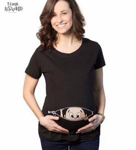 2020 Summer Baby Peeking Out Print Pregnancy Women T Shirt Fashion Tops Harajuku Clothing Pink Funny Hip Hop Streetwear Homme