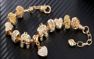 Big beads bracelet 14K set with diamonds gift for women or mori girls European and American price and luxurious with unique design
