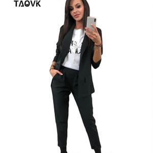 TAOVK Arbeit Hose-Klagen 2 Stück Sets Turn-down-Kragen-Blazer-Jacken-Hosenanzug für Frauen Feminino Frühlings-Herbst-und Arbeitskleidung