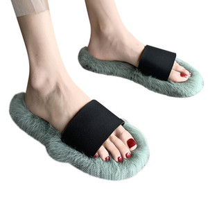 flat Fluffy Comfy Furry Flip Flops Comfortable Hairy Slipper chaussures femme Women Fur Slippers Around the shoes drop