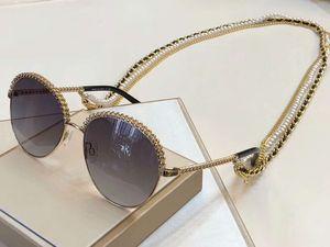 2.184 Ouro Grey Shaded Sunglasses Cadeia Colar óculos de sol Mulheres Moda óculos de sol Óculos de sol New com caixa