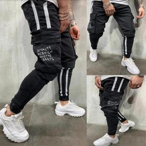 Black Big Pockets Mens Jeans Spring Autumn Fashion Pencil Pantalones Trousers
