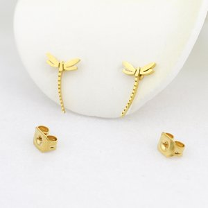 Flying Insect Dragonfly Stud Earrings Animal Jewelry Gold Color Stainless Steel Nature Earrings Women Girl Best Gifts