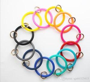 Bijoux en silicone Bracelet en cuir Teething Keychain Porte-clés O Cercle Bracelet Bracelet KeychainBracelet Key RingFashion KeyringQJS66325415