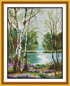 Hermosa vista del paisaje del lago Pintura de decoración para el hogar, bordados a mano punto de cruz Bordado conjuntos contados impresión en lienzo DMC 14CT / 11CT