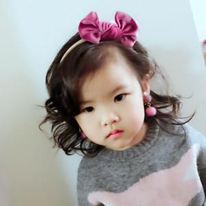New Europe Baby Girls Pleuche Bow Headband Kids Bowknot Hairband Children Bandanas Head Band 10 Colors 15296