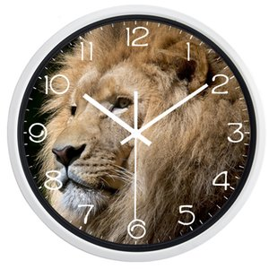 Animal Lion Head Wall Clock Cool Modern Decorate Living Room Bed Room Brand Glass Clock, No Ticking Sound