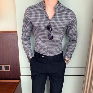 British Style Business Slim Fit Turn Down Collar Club Dress Shirts Men Plaid Shirt Men Original Gentlemen Long Sleeve Shirt
