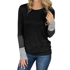 FREE OSTRICH women's casual solid color stitching long-sleeved T-shirt O-neck loose pinstripe tops shirt plus size female