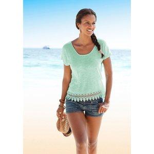Tops Casual das Mulheres Verão Bohemian Praia Sólidos Manga Curta Rendas Hem Tops T-Shirt Blusa