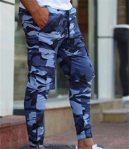 Contraste moletom verão Cor Carga Mens Calças Lápis Casual Jogger masculino da aptidão calças de camuflagem dos homens do desenhista