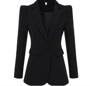 Europa y el encogimiento de hombros delgada oficina de Estados Unidos delgada de la señora una hebilla color sólido chaquetas de traje de moda
