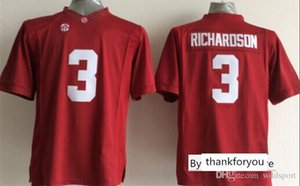 Mens Alabama Crimon Tide Trent Richardson costurado NameNumber Red American College Football Jersey Tamanho S-3XL