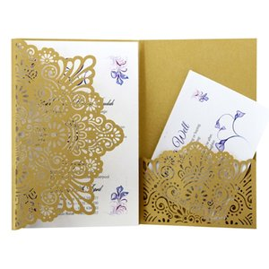 1Pcs Elegant Laser Cut Wedding Invitation Cards Greeting Card Tri-Fold Lace Business Card With RSVP Cards Decor Party Supplies Other Event
