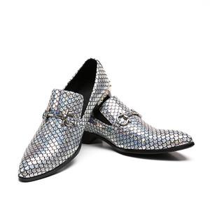 Uomo Mocassini Paillettes Pantofole Mocassini Oro Nastro Glitter Banchetto Abiti da sposa Uomo Scarpe in vera pelle Casual
