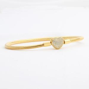 Оптово Позолоченные CZ Алмазное сердце Браслеты оригинальной коробке Набор для Pandora 925 Silver Snake Chain Браслет для женщин Свадебные ювелирные изделия