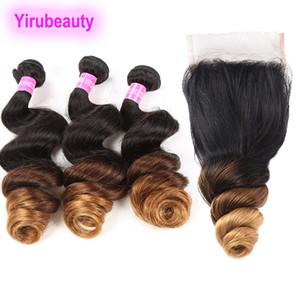 Перуанские человеческие волосы 1B / 4/30 Ombre наращивание волос свободные пучки волн с закрытием шнурка 4X4 4шт свободная волна Yirubeauty