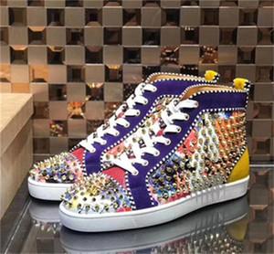 YENİ Tasarımcı Sneakers Kırmızı Bottoms ayakkabı Çivili Dikenler Flats ayakkabı luxurys Erkekler Kadınlar Partisi Düğün kristal Deri Ayakkabı 35-47 C22